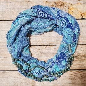 Anthro Turquoise Beaded Pattern Infinity Scarf